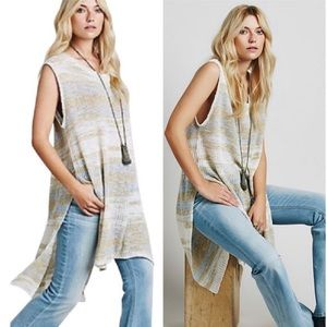 Free People Striped Sleeveless Knit Tunic Top